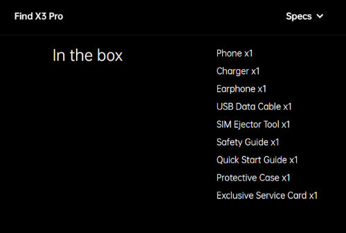 oppo find x3 pro box contents