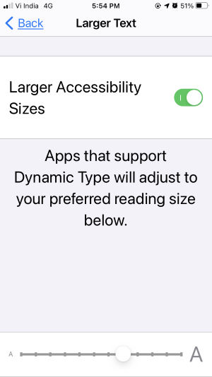 large text size option on iphone