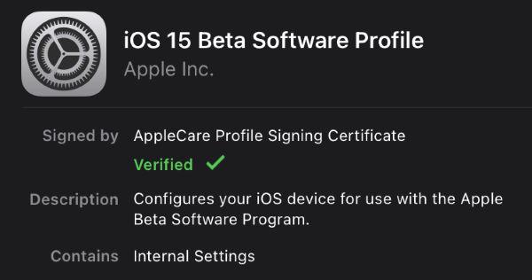 ios 15 beta profile