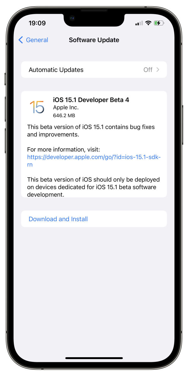 ios 15.1 beta 4 is out