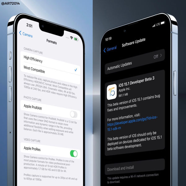 ios 15.1 beta 3 brings prores to iphone 13