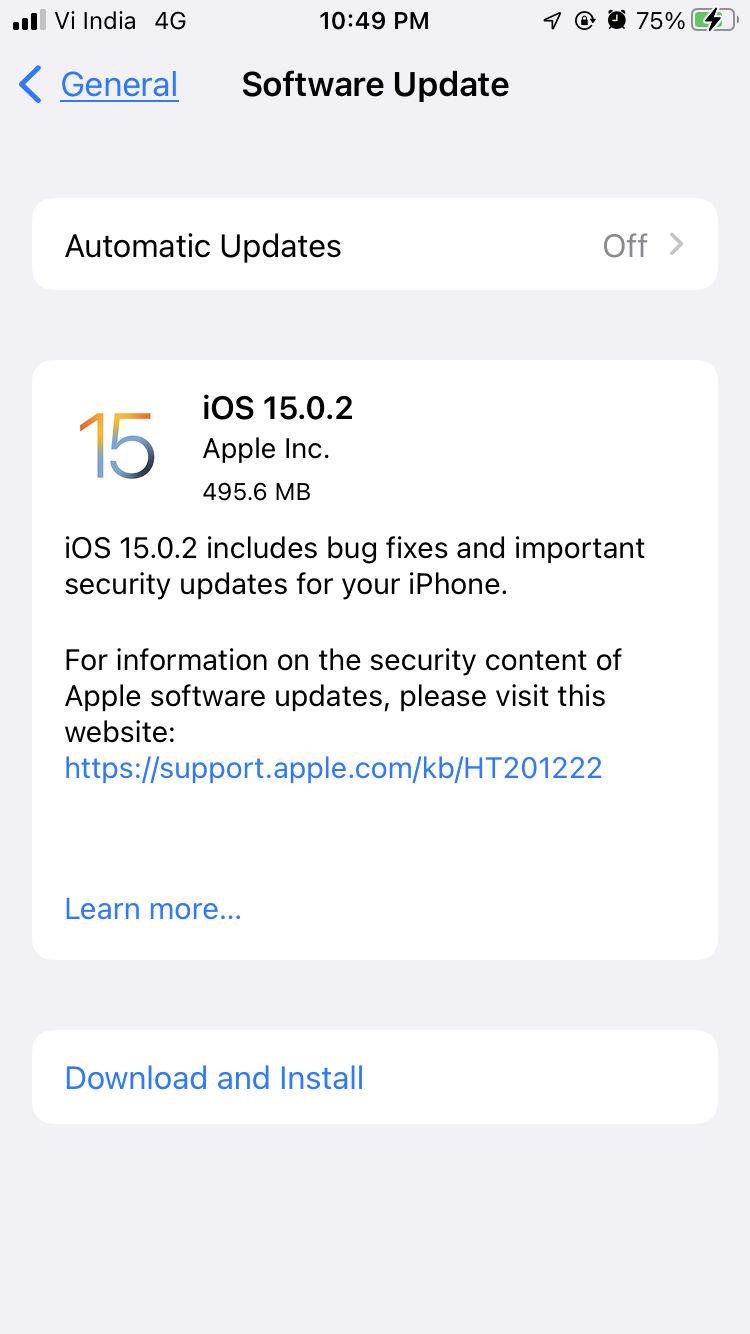 ios 15.0.2 released by apple